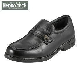ハイドロテック ビジネスシューズ HYDRO TECH クラシック HD1391 メンズ靴 4E ビジネスシューズ 防水 スリッポン Uチップ 軽量 軽い 滑りにくい 黒 山羊革 通勤 仕事 クッション性 カップインソール 小さいサイズ 対応 24.0cm ブラック