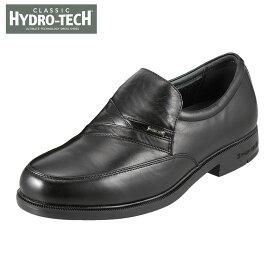 ハイドロテック ビジネスシューズ HYDRO TECH クラシック HD1392 メンズ靴 4E ビジネスシューズ 防水 スリッポン Uチップ 軽量 軽い 滑りにくい 黒 山羊革 通勤 仕事 クッション性 カップインソール 小さいサイズ 対応 24.0cm ブラック