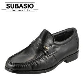 スバシオ SUBASIO 4670 メンズ ビジネスシューズ モカシン スリッポン やわらか シンプル 定番 ブラック
