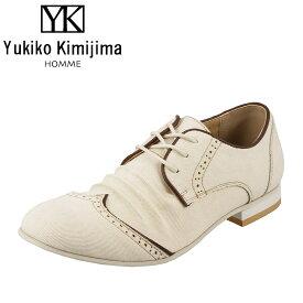 ユキコキミジマオム Yukiko Kimijima HOMME YK226 メンズ カジュアルシューズ ロングノーズ ローカット ストリート ホワイトソール 大きいサイズ対応 28.0cm アイボリー
