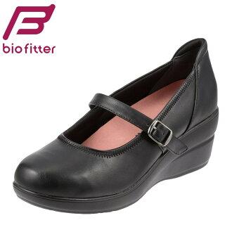 pampusubaiofitta Bio Fitter漂亮行走BFL13450女士鞋鞋鞋21.0-26.0cm 3E吊带女用浅口无扣无带皮鞋行走楔子鞋底黑低反论打击吸收行走以及吸,站着,工作大的尺寸对应黑色
