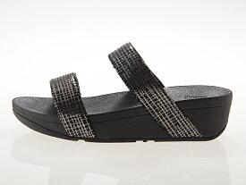 フィットフロップ FITFLOP LOTTIE CHAIN PRINT SLIDE SUEDE SANDAL ロッティ チェーン プリント スライド スエード サンダル レディース ヒール高さ約4.5センチ BLACK ブラック 黒 #T60-001