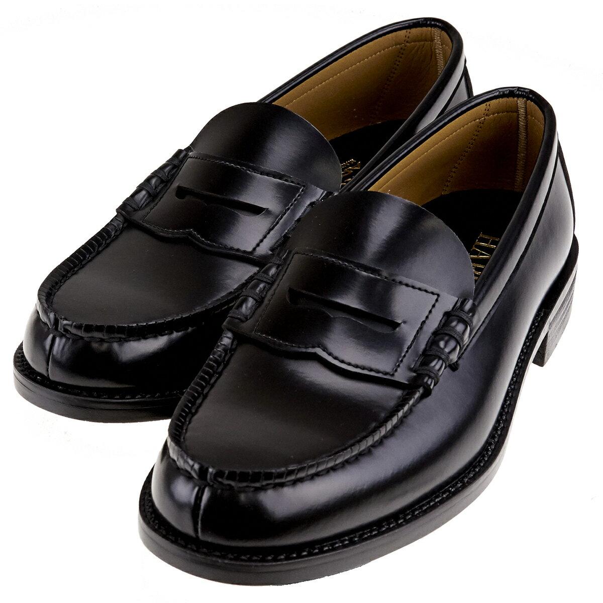送料無料 沖縄離島除く HARUTA ハルタ 6550 メンズ ローファー 幅広3E 学生靴 学生 通学 日本製 ブラック 黒 ハルタ6550 L BL