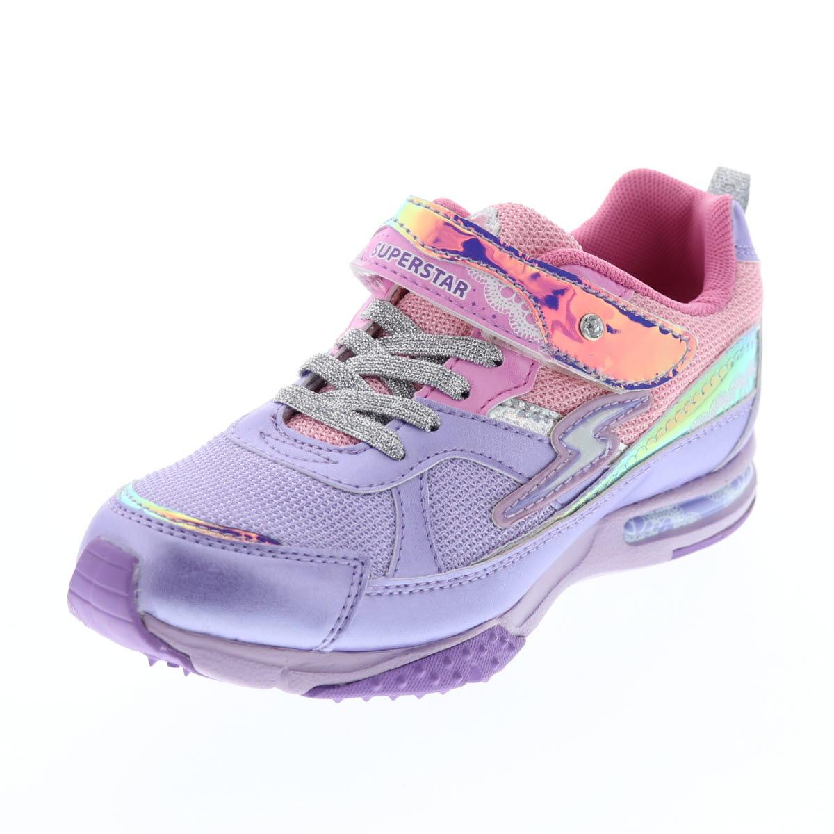 バネのチカラ キッズスニーカー 女の子 moonstar ムーンスター スタージュエリーコレクション 運動靴 キラキラ ラメ SSJ842 PPL パープル 紫