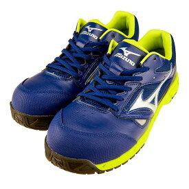 安全靴 スニーカー ミズノ MIZUNO メンズ レディース オールマイティLS ネイビーxシルバーxグリーン 紐タイプ ローカット ネイビー セーフティシューズ C1GA1700 NV14