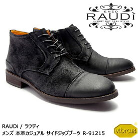 RAUDi ラウディ メンズ MENS 本革スエード カジュアルシューズ 革靴 くつ サイドジップブーツ レザー ブラック 黒 R-91215 【送料無料】【あす楽】