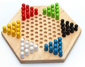 木製 六角 チェッカー ゲーム ボードゲーム 子ども 知育玩具 大人 でも楽しめる 脳トレ おもちゃ
