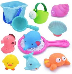お風呂 おもちゃ Bacolos おふろ 水遊びおもちゃ シャワー プール おもちゃ 11点セット 噴水 音出す動物 漁網 ひ 6しゃく ジョウロ バケツ 柔らかい 子供 おもちゃ 収納バッグ付き