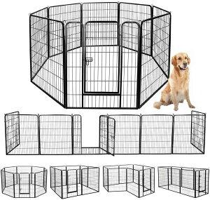 ペットフェンス 中大型犬用 ペットケージ ペットフェンス ゲージ サークル トレーニングサークル スチール製 複数の組み合わせ 室内室外兼用 犬小屋 ペット用品