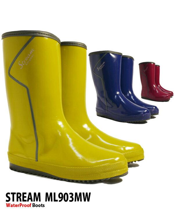 【あす楽】ストリーム レディースレインブーツ 【ml903MW】 やわらか 軽量 完全防水 ハーフ丈ラバーブーツ 長靴 ガーデニングにも メッシュウレタン□ml903mw□ まるほ