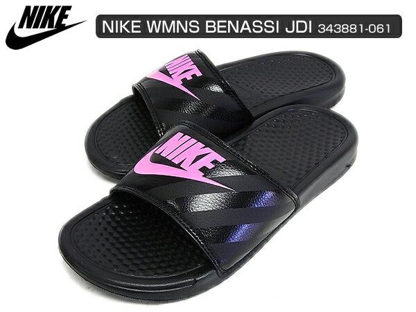 NIKE WMNS BENASSI JDI ナイキ ウィメンズ ベナッシ ブラック/ブラック/ビビッドピンク 黒/ピンク 343881-061 サンダル レディース