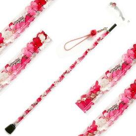 【19種類より選べる!スケルトンパイプの中の花びら】 【 Glass Rose(グラスローズ) プルメリアピンク 】素敵屋杖 おしゃれ 女性 おしゃれな杖 かわいい杖 人気 杖 母 誕生日 プレゼント 杖 可愛いデザイン 杖を使う 抵抗 ステッキ オシャレ オーダー杖 代引不可