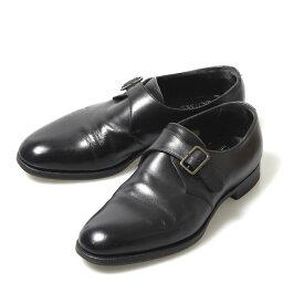 エドワードグリーン EDWARD GREEN シングルモンク プレーントゥ UK7E 202ラスト ブラック カーフ イギリス製 メンズ 靴 革靴 紳士靴 【中古】