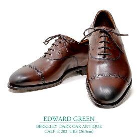 【新品 EG147】エドワードグリーン バークレー ダークオークアンティーク カーフ Eウィズ 202ラスト UK8(26.5cm) EDWARD GREEN BERKELEY DARK OAK ANTIQUE CALF E202