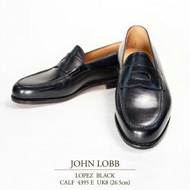 【送料無料 新品 JL054】ジョンロブ ロペス ブラック カーフ Eウィズ 4395ラスト UK8(26.5cm) JOHN LOBB LOPEZ BLACK CALF 4395E ローファー コインローファー スリッポン