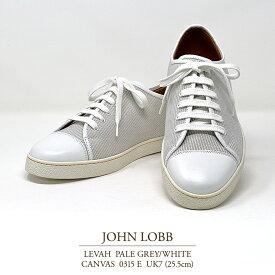 【送料無料 新品 JL045】ジョンロブ レバー(レヴァー) ペールグレー/ホワイト キャンバス Eウィズ 0315ラスト UK7(25.5cm) JOHN LOBB LEVAH PALE GREY/WHITE CANVAS 0315E