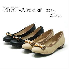 PRET-A PORTER (プレタポルテ) 9025 パンプス レディース ブラック 黒 オーク リボン 歩きやすい 痛くなりにくい 防滑ソール 滑りにくい (シューセレクトリファイン)