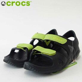 crocs クロックス swiftwater river sandal kidsスィフトウォーター リバー サンダル キッズ2204988 09W Black/Volt Green「靴」