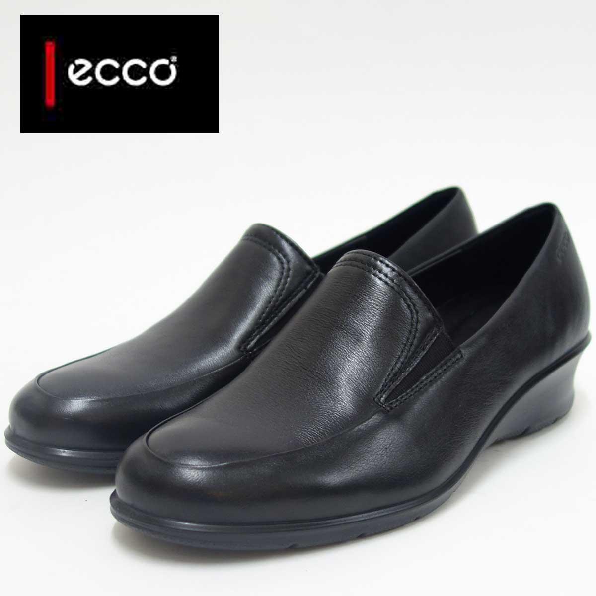 ECCO エコー 217053 ブラック(レディース)上質レザースリッポンシューズお洒落カジュアル&ウォーキング天然皮革コンフォートシューズ「靴」