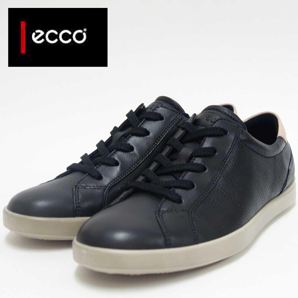 ECCO エコー 241023 ブラック(レディース)上質レザーレースアップシューズお洒落カジュアル&ウォーキング天然皮革コンフォートシューズ「靴」