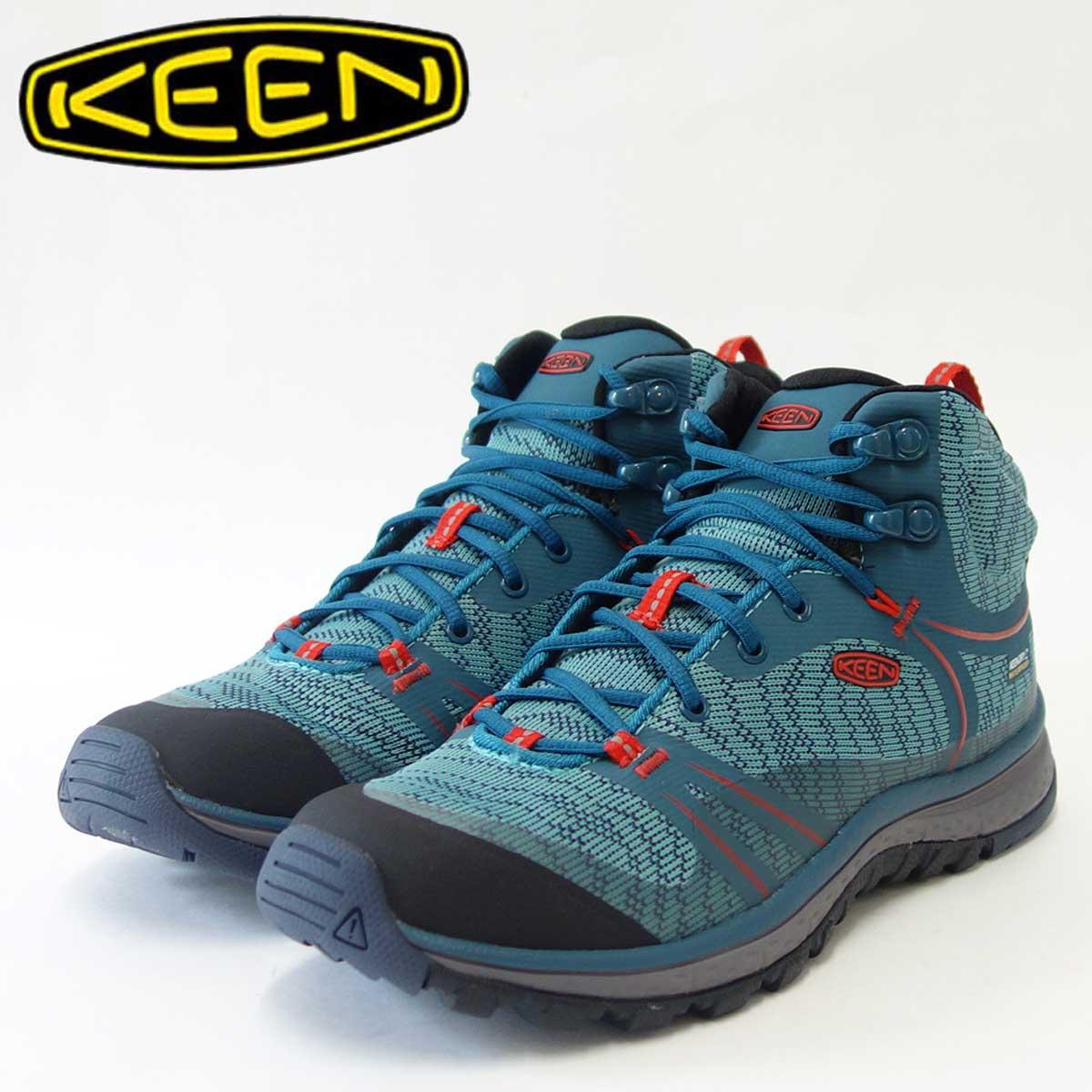 KEEN キーン Terradora Mid WP 1017685 テラドーラ ミッド ウォータープルーフ(ウィメンズ)防水仕様、通気性抜群のアウトドアフィットネスシューズカラー: Blue Coral / Fiery Red「靴」