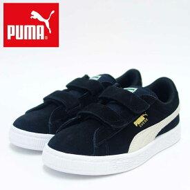 【ポイント15倍(要エントリー)スーパーSALE期間】PUMA プーマ 359595 01(キッズ) スウェード 2ストラップ PSカラー:ブラック/ホワイト「靴」