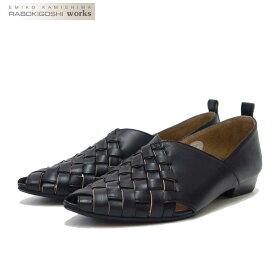 RABOKIGOSHI works(ラボキゴシ ワークス) 12252 ブラック メッシュ フラットシューズ 「靴」