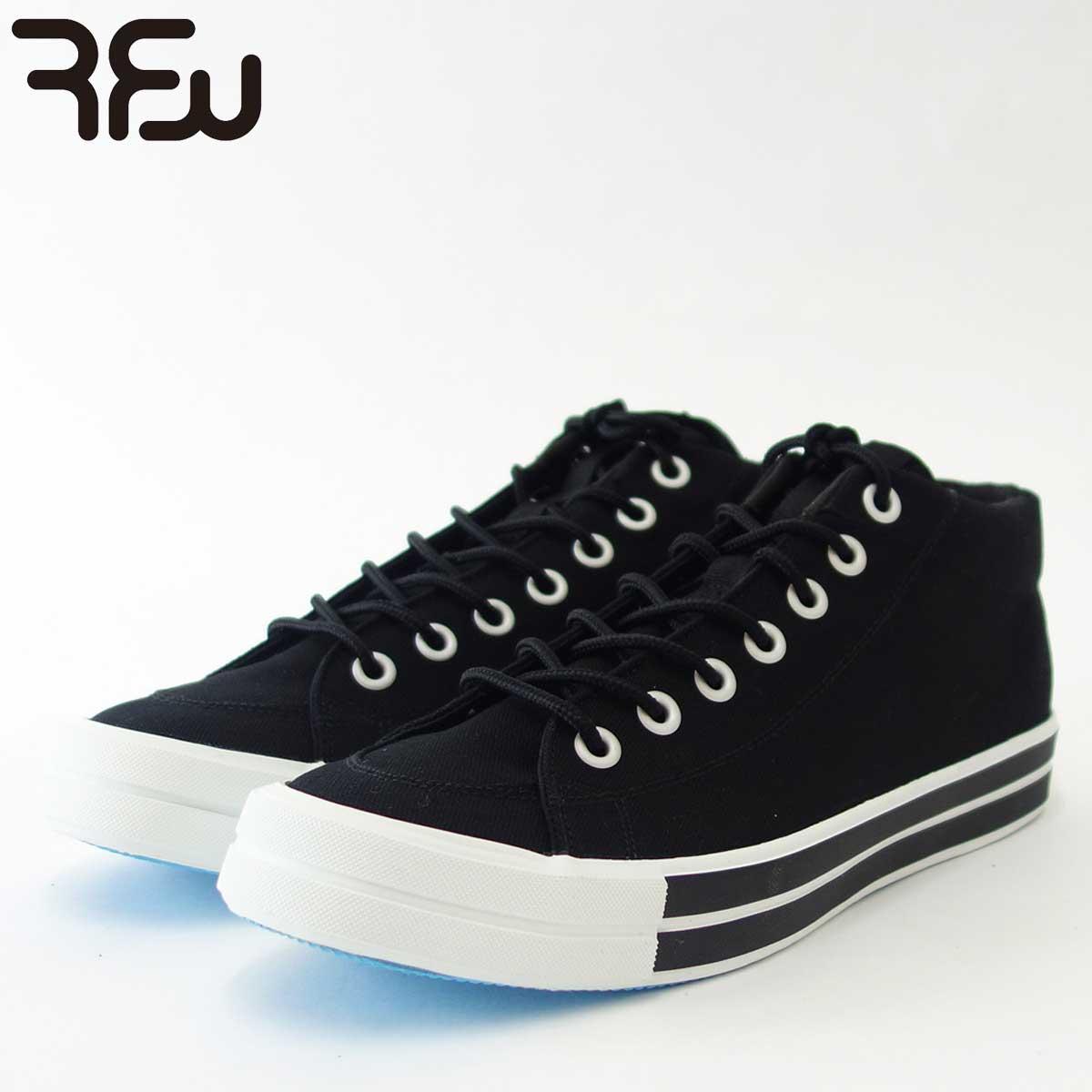 RFW アールエフダブリュー BAGEL-MID STANDARD(ユニセックス)1812031 カラー:ブラック キャンバスのミッドカットスニーカー 「靴」