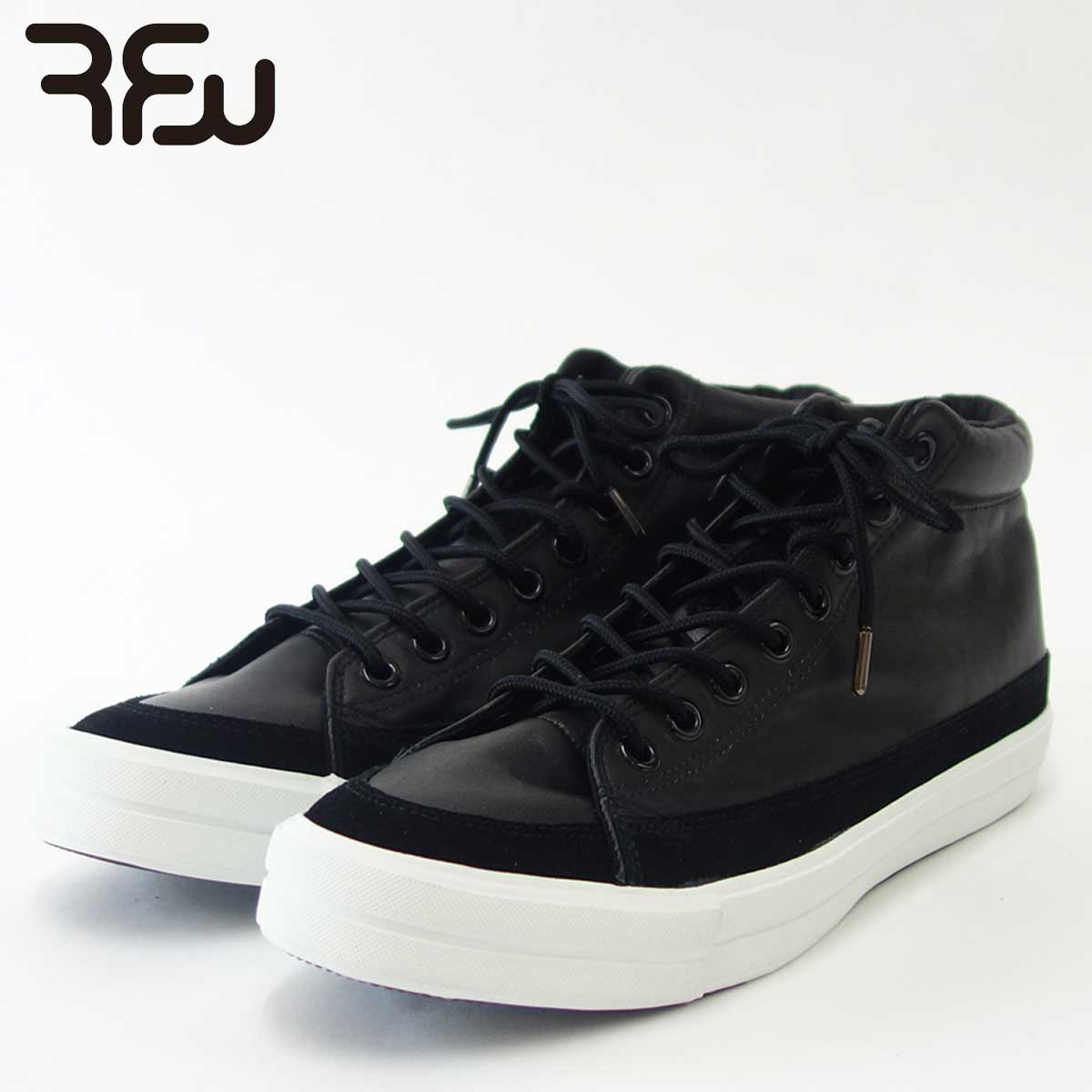 RFW アールエフダブリュー BAGEL-HI LEATHER(ユニセックス)1812242 カラー:ブラック 天然皮革のハイカットスニーカー 「靴」