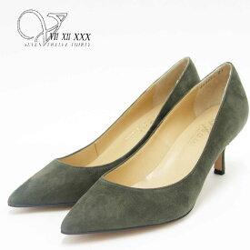 【スーパーDEAL20%ポイントバック】V SEVEN TWELVE THIRTY ヴイセヴントゥエルヴサーティ 308671 カーキスエード (6cmヒール)カラーシルキーポインテッドトゥパンプス(日本製)「靴」