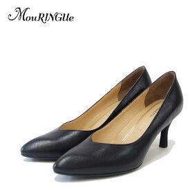 MouRINGUe ムラング Coeur519001 ブラック (6.5cmヒール)ポインテッドトゥ Vカットパンプス(日本製)「靴」