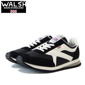 WALSH ウォルシュ TOR01393(ユニセックス) Tornado カラー:ブラック/ホワイト(英国製) スエード&ナイロンのランニングスニーカー 「靴」