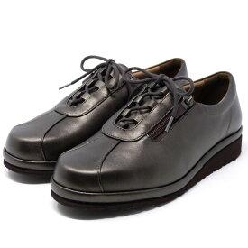 asics pedala アシックス ペダラ ウォーキングシューズ 4E ファスナー付き 本革 日本製 WPM466 旅行 通勤 靴 レディース 婦人靴 Mダークブラウン