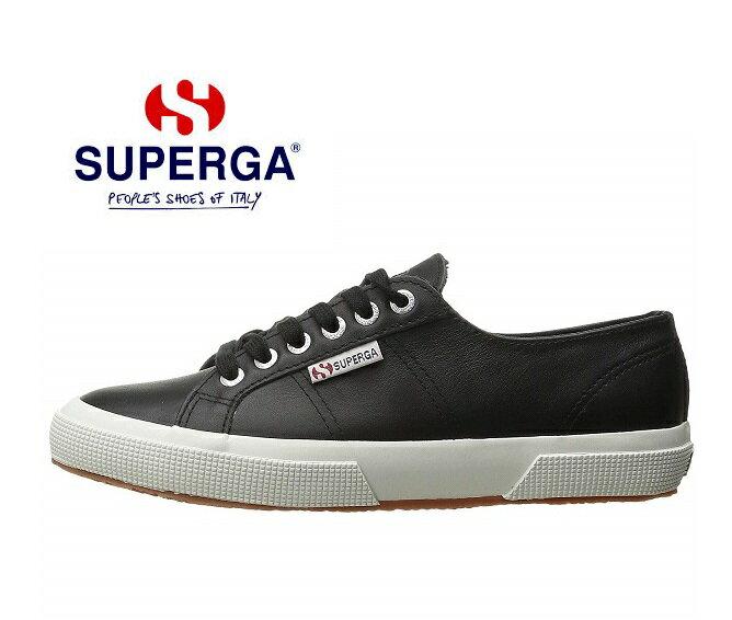スペルガ スニーカー レディース SUPERGA 2750-FGLU S009HL0 レースタイプ フルグレインレザー ブラック シューズクラブC楽天20 送料無料