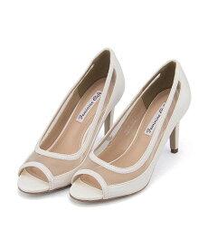 パンプス 痛くない ヒール 歩きやすい 疲れない レディース チュール オープントゥ クッション性 美脚 カジュアル デイリー トレンド フォーマル ドレス フェミニンカフェ Feminine Cafe 280128 ホワイト