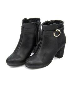 ショートブーツ ヒール 歩きやすい 疲れない レディース ベルト付き クッション性 美脚 カジュアル デイリー トレンド フェミニンカフェ Feminine Cafe 450775 ブラック