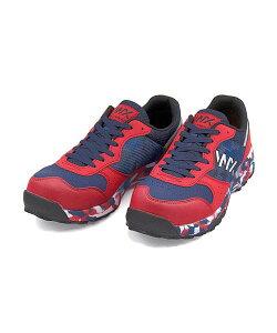 テクシーワークス プロテクティブスニーカー 作業靴 メンズ つま先保護芯入り 軽量 クッション性 抗菌 防臭 3E 幅広 カジュアル デイリー スポーツ ウォーキング TEXCY WX WX-0001 ネイビー/レッ