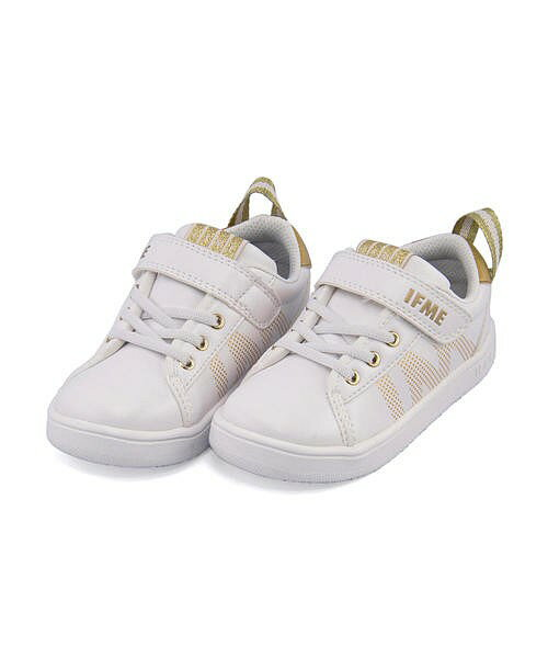 イフミー ローカット スニーカー 女の子 男の子 キッズ 子供靴 運動靴 通学靴 イフミーライト ゴム紐 ストラップ 軽量 クッション性 屈曲性 カジュアル デイリー スクール 学校 IFME 22-8070 ホワイト