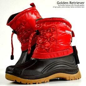 防寒 ブーツ メンズ レインブーツ メンズ スノーブーツ メンズ 防水 撥水 抗菌 レッド 赤 Golden Retriever 9960 Y_KO 181116-2