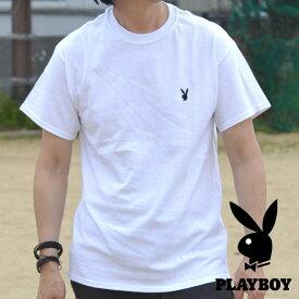 PLAYBOY Tシャツ ブランド メンズ レディース 半袖 プレイボーイ 送料無料 ワンポイント刺繍 丸首 シンプル 93175001 ホワイト 白 190526