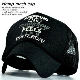 メッシュキャップ キャップ メンズ レディース 帽子 麻素材 リネン プリント NAK 77-1422 ブラック 黒 190617