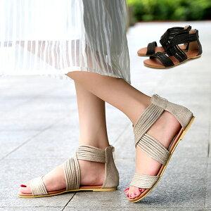 【送料無料】 疲れない グラディエーター サンダル 妊婦 フラットサンダル 多重 レディース 25cm 歩きやすい 靴 ブーツサンダル フラットシューズ アンクルストラップ ローヒール ぺたんこ