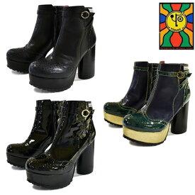 【クリアランス】 YOSUKE ヨースケ厚底ブーツ ショートブーツ ブーティー ウイングチップ レディース 全3色 22.5cm-24.5cm 2600932