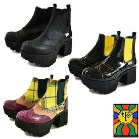 【クリアランス】 YOSUKE ヨースケサイドゴアブーツ 厚底ブーツ ショートブーツレディース 22.5cm-24.5cm 全3色 2600942