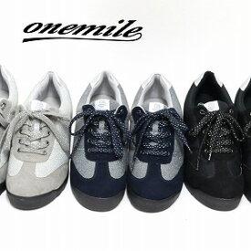 【ワンマイル】Onemileレディース防水カジュアルスニーカー OM-362 レースアップ 紐靴 撥水 ウェッジソール 美脚