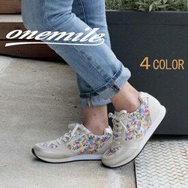 【ワンマイル】Onemileレディースレースアップスニーカー OM-366  カジュアル 紐靴