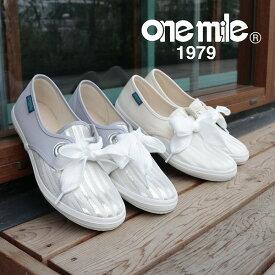 【ワンマイル】Onemileレディーススニーカー OM-729 カジュアル 紐靴 キャンバス コンビ