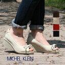 【ミッシェルクラン】MICHEL KLEINレディスオープントゥパンプス MK-210 黒 ウェッジソール リボン