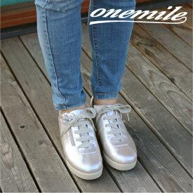 【ワンマイル】Onemileレディースレースアップスニーカー OM-384 カジュアル ウェッジソール ヒールアップ