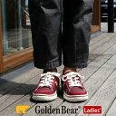 【ゴールデンベア】Golden Bear レディースカジュアルスニーカー GB-348 軽量 ゆったり 幅広 4E レースアップ ミドルカット サイドゴム